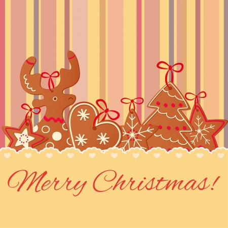Merry Christmas greeting card design. Christmas cookies Vector