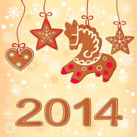 Merry Christmas greeting card design. Christmas cookies Stock Vector - 22242609