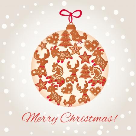 christmas cookie: Merry Christmas greeting card design. Christmas cookie ball Illustration