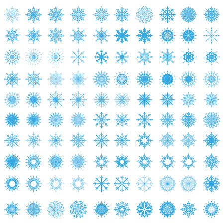set of 100 snowflakes - vector