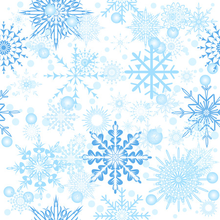 Merry Christmas greeting card design. Snowflakes seamless Illustration
