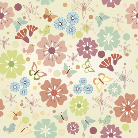 Flowers and butterflies seamless (colorful background). Vector Illustration.
