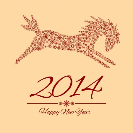 New Year symbol of horse - vector, Illustration.