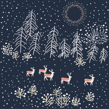 winter scene:  Winter scene - Illustration, vector Illustration