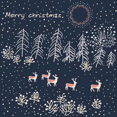 Merry Christmas greeting card design. Winter scene - Illustration Vector
