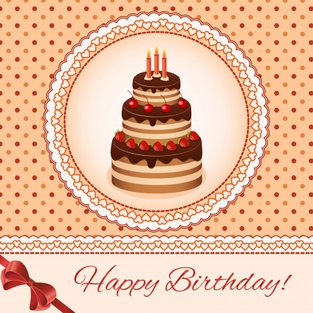 Birthday greeting card design. Cake Vintage Vector