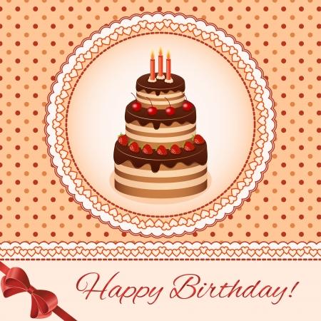 aciculum: Birthday greeting card design. Cake Vintage