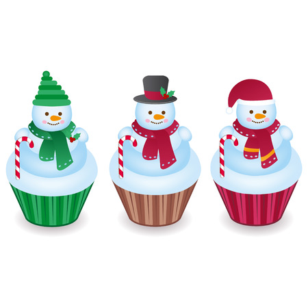Cute snowman cupcakes isolated on a white background Illustration