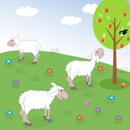 羊の牧草地  イラスト・ベクター素材