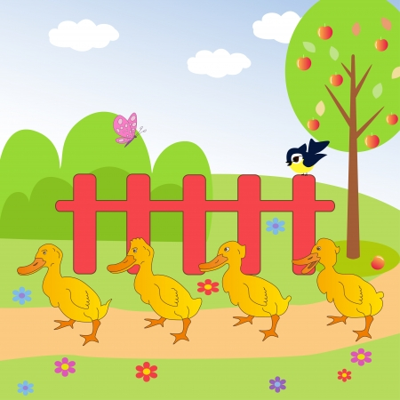 ducks in the meadow Vector