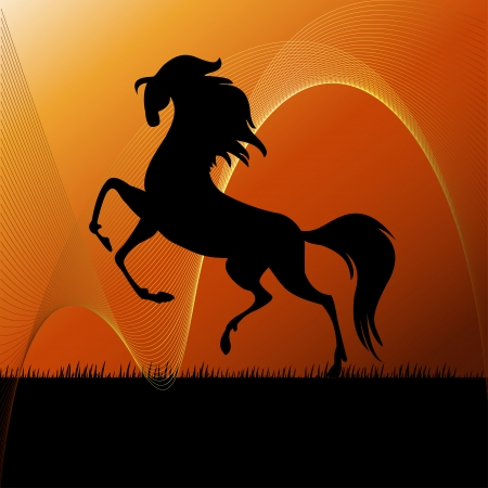 Running horse on grass silhouette- vector, illustration