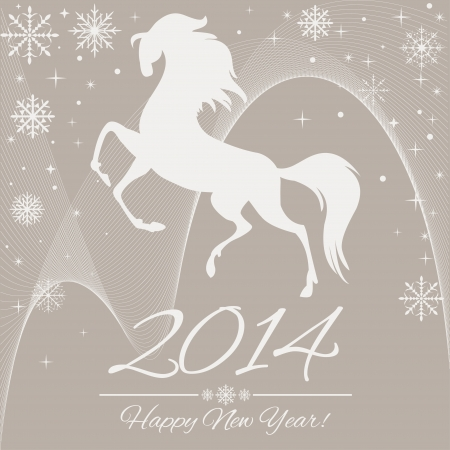 New Year symbol of horse - Illustration, vector Vector