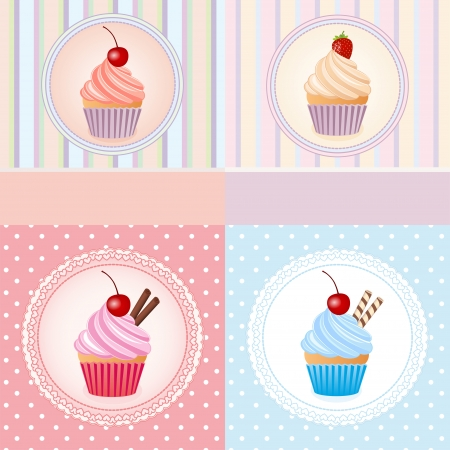 cupcake on vintage background - vector illustration