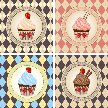 Vector illustration of colorful cupcake set  Vector