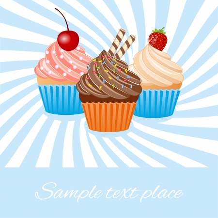 Vector illustration of colorful cupcake Vector