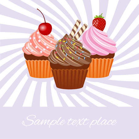 Vector illustration of colorful cupcake