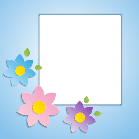 Beautiful spring flowers blue background -vector   Vector