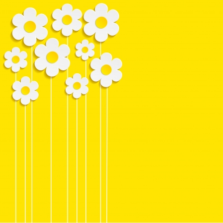 illustration herbe: Belles fleurs de printemps fond jaune-Vector Illustration