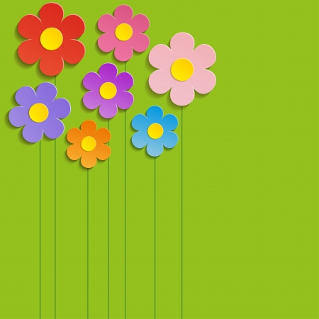 Beautiful Spring Flowers Green Background -Vector