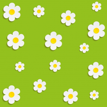 Beautiful Spring Flowers Green Background -Vector   Vector