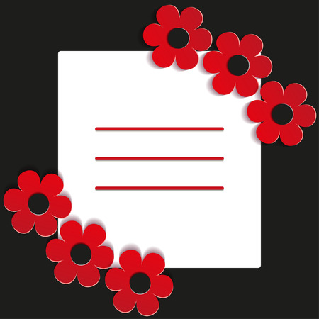 red flowers on a black background - vector illustration