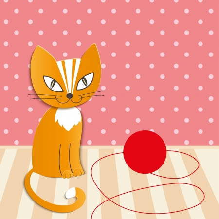 cartoon cat plays with a ball of wool - Illustration Stock Vector - 22698675