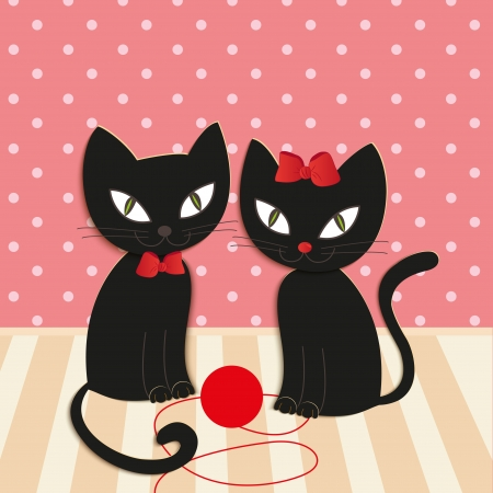cat s: romantic couple of two loving cats - Illustration, vector