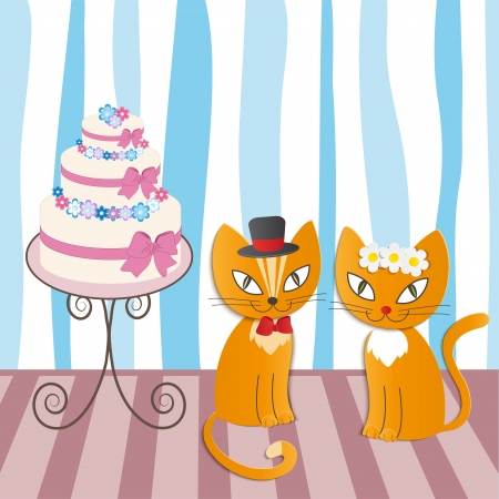 romantic couple of two loving cats - Illustration