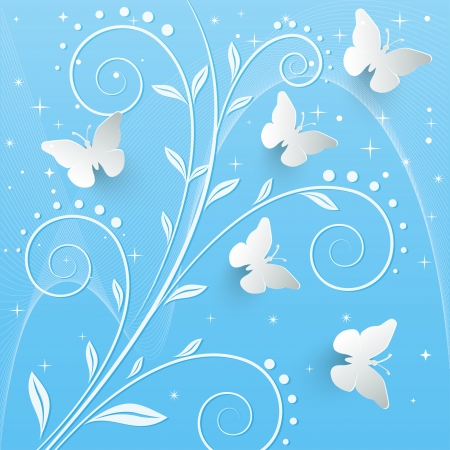 Vector background with paper butterflies