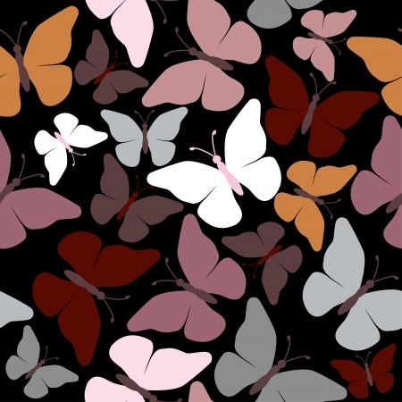 seamless butterflies - illustration, vector