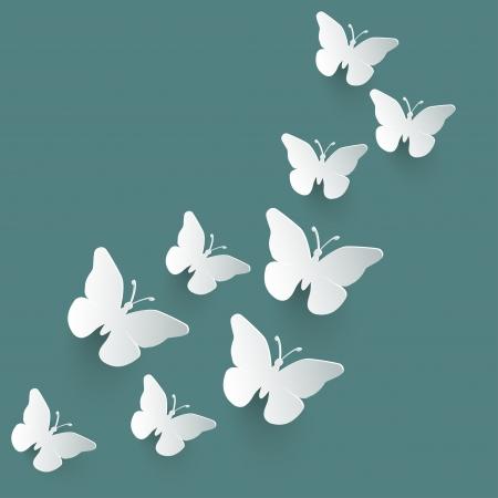 Vector background with paper butterflies  Vector