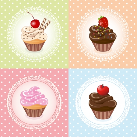 cupcake on vintage background - vector illustration Vector
