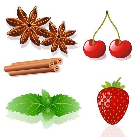 apple cinnamon: a set of strawberry, cherry, mint, cinnamon, anise