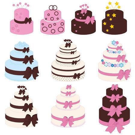 aciculum: Vector illustration of colorful cake set