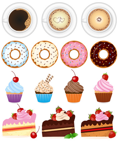 Desserts and drinks icon set - Illustration Vector