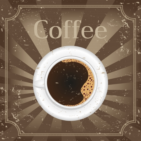Cup of black coffee - vector illustration  Vector