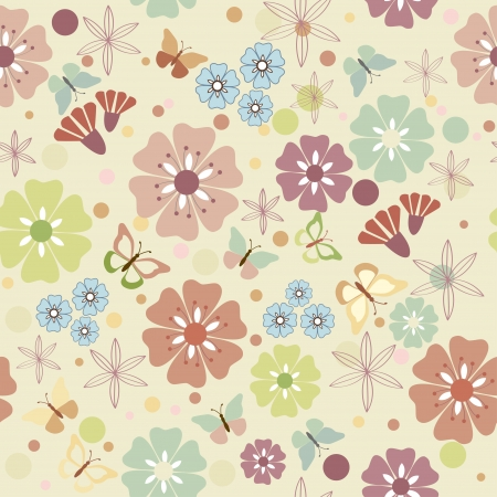 Flowers and butterflies seamless - illustration, vector