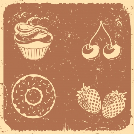 Desserts and fruit icon set - Illustration  Vector