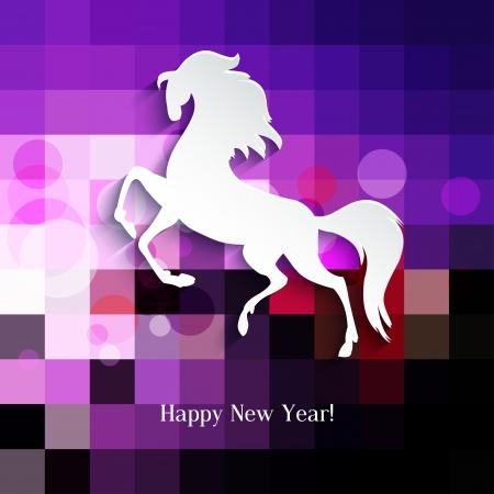 New Year symbol of horse - Illustration, vector