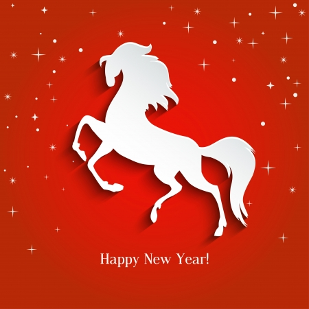 New Year symbol of horse - Illustration, vector Stock Vector - 23250643