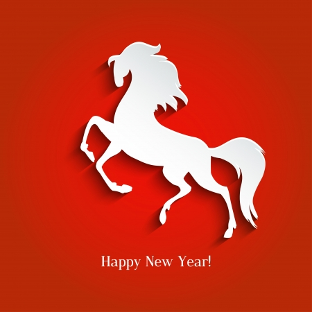New Year symbol of horse - Illustration, vector Stock Vector - 23250645