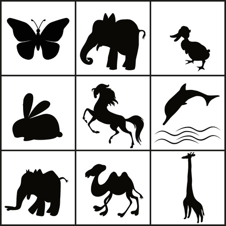 Silhouette of animals - vector illustration Stock Vector - 23552005