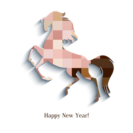 New Year symbol of horse - Illustration, vector Stock Vector - 23552119