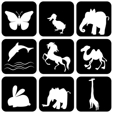 Silhouette of animals - vector illustration  Vector