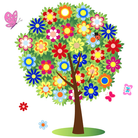 flowering tree - illustration, vector