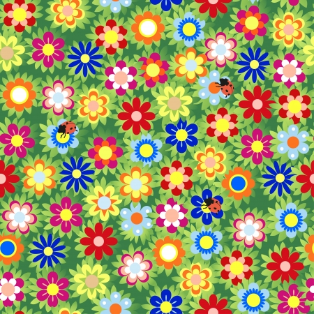 Flower Garden Seamless Pattern - Illustration  Vector