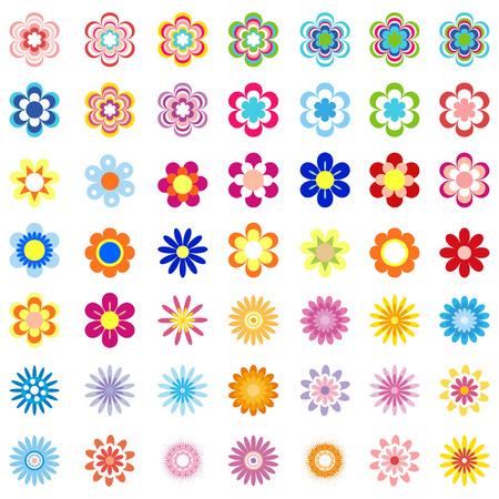 clip art: Vector Flower Set - Illustration