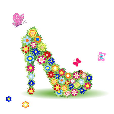 Shoes on a high heel decorated with flowers and butterflies