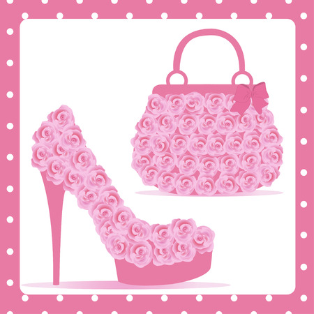Beautiful female shoes and bags - Illustration Vector