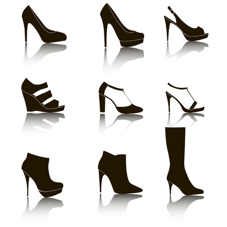 fetishes: Shoes silhouette collection for your design - Illustration